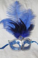 Blue and Silver Tall Feather Mask